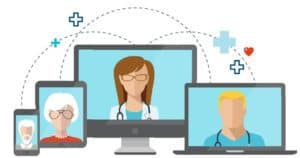 graphic of screens with faces, representing a care provider communicating by video with patients